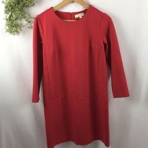 Loft Coral Quarter Sleeve Shift Dress 🌿